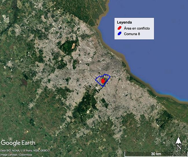 Localización de la Comuna 8 y del área en conflicto en el Área Metropolitana de Buenos Aires