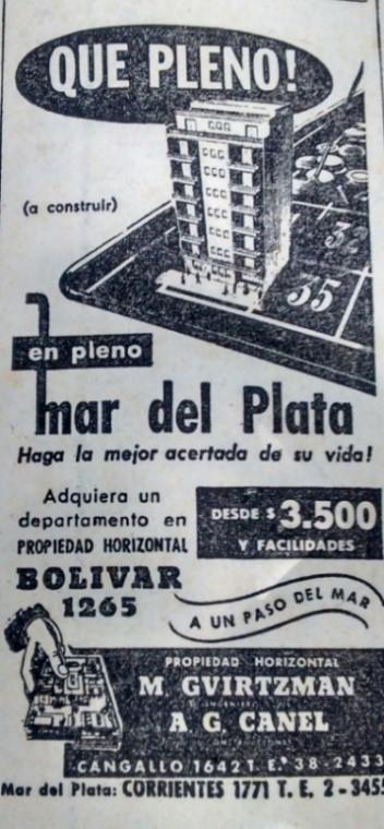 Publicidades de edificios en venta en la prensa de Buenos Aires