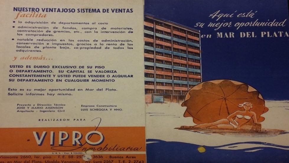 Folletos publicitarios de edificios, década de 1950