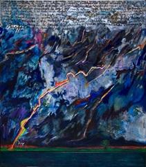 Luis Felipe Noé, Tormenta en la Pampa - Homenaje a una pintura escrita por Sarmiento, 1991. Técnica mixta y acrílico sobre tela, 220 x 250 cm. Colección Fortabat (Buenos Aires)